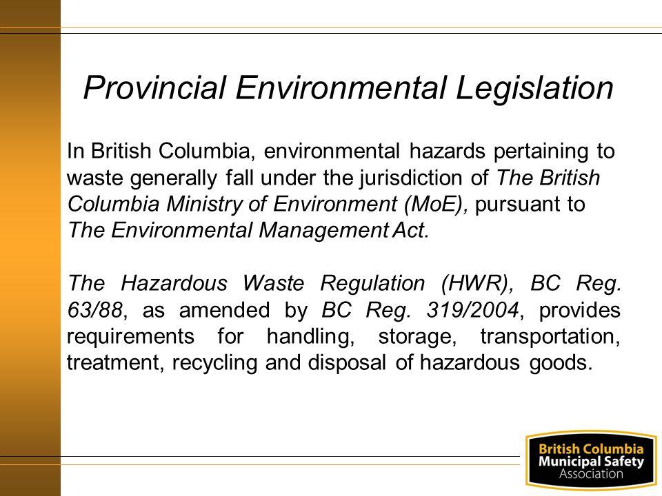 Provincial Environmental Legislation