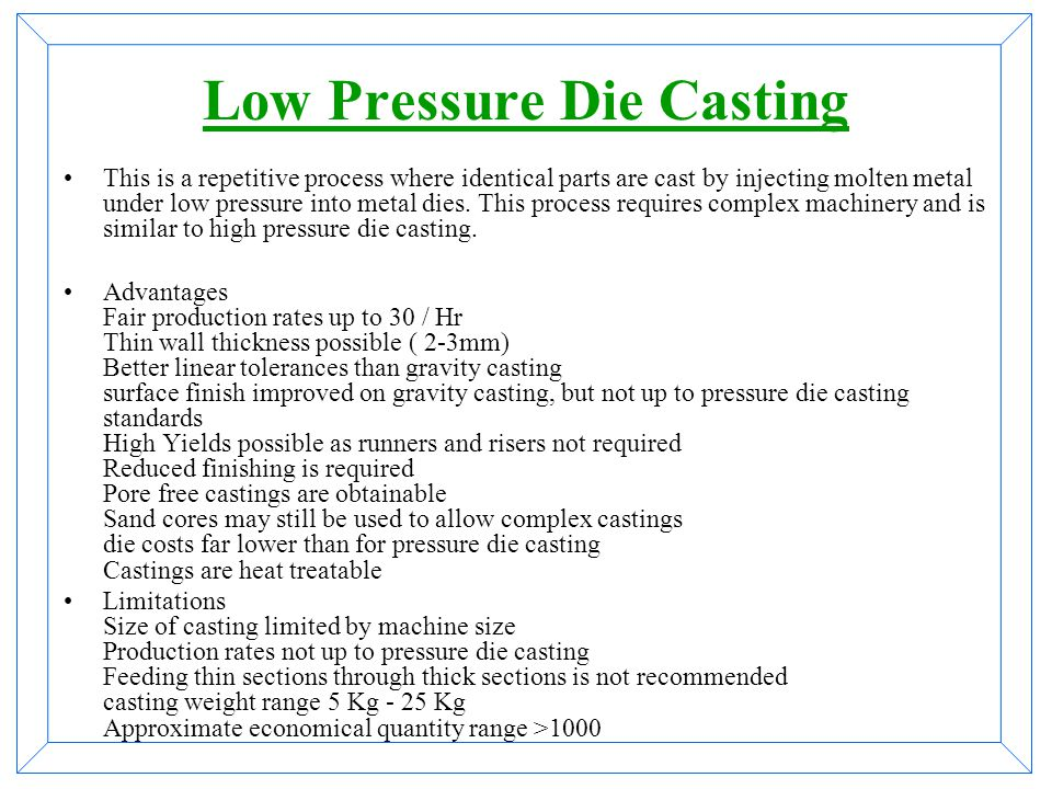 types of die casting process pdf