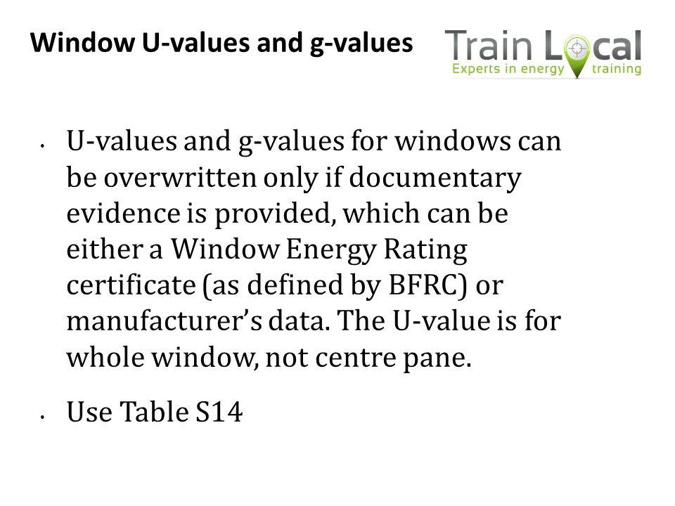 Window U-values and g-values