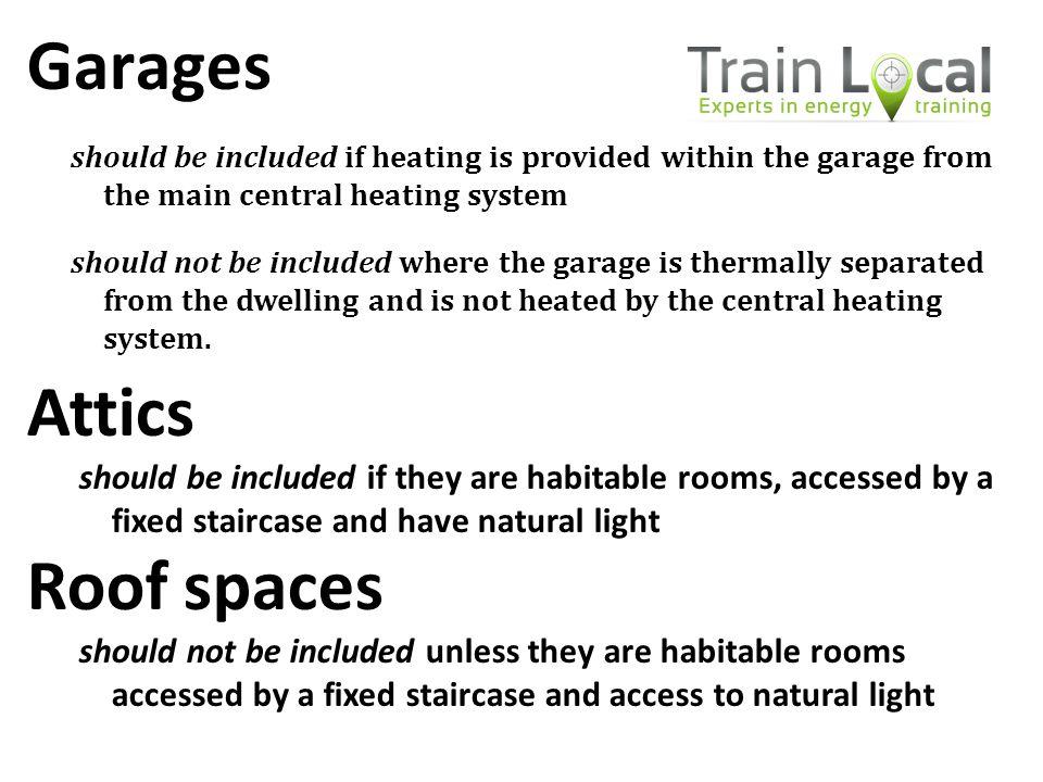 Garages Attics Roof spaces