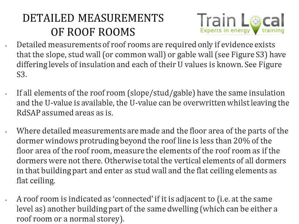 DETAILED MEASUREMENTS OF ROOF ROOMS