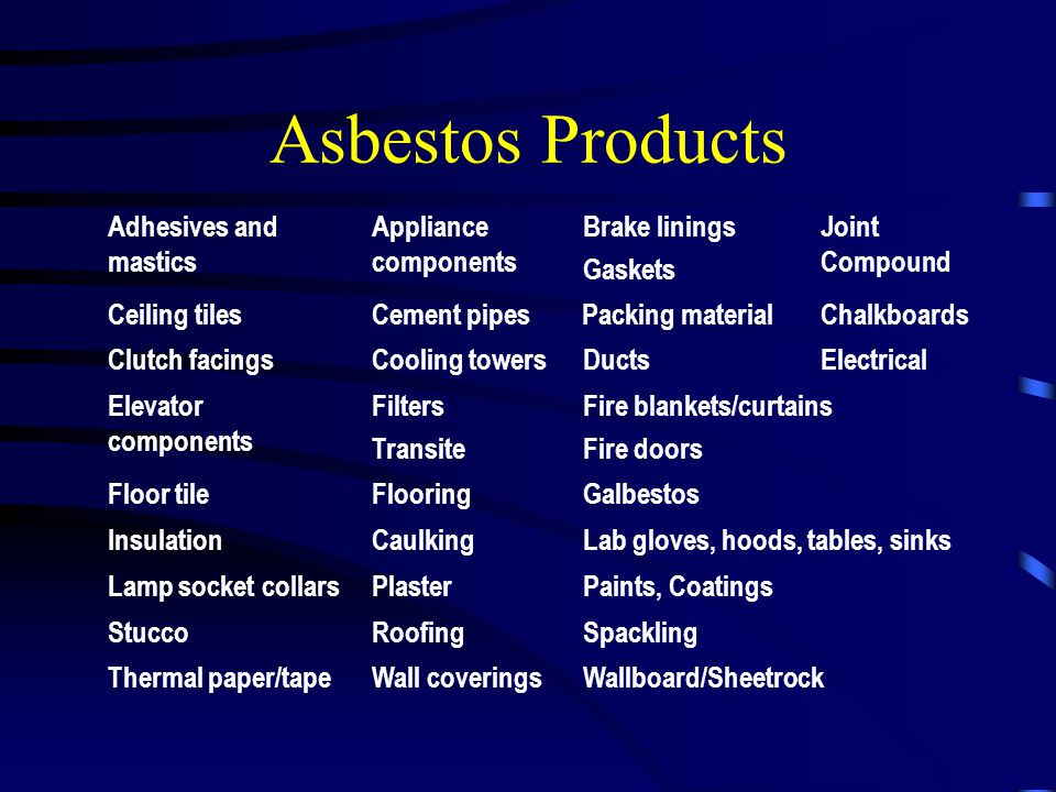 Asbestos Products Adhesives and mastics Appliance components