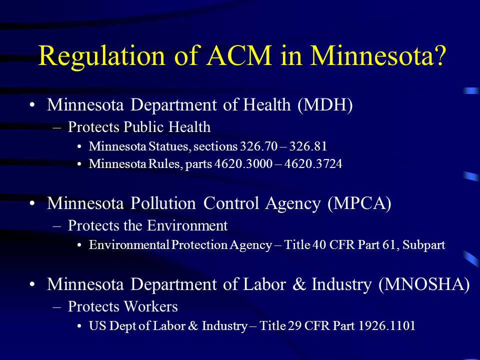 Regulation of ACM in Minnesota
