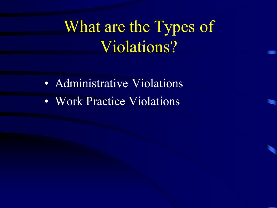 What are the Types of Violations