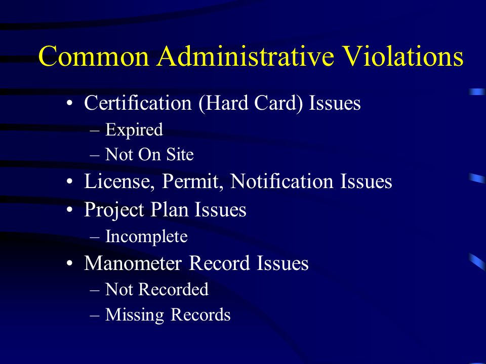 Common Administrative Violations