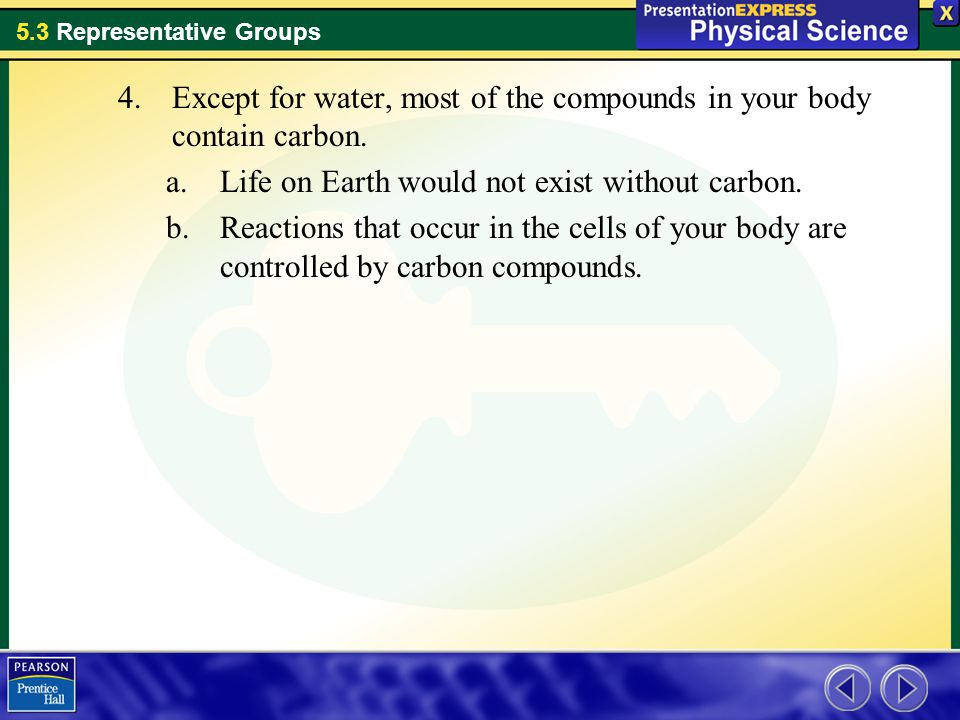 Except for water, most of the compounds in your body contain carbon.