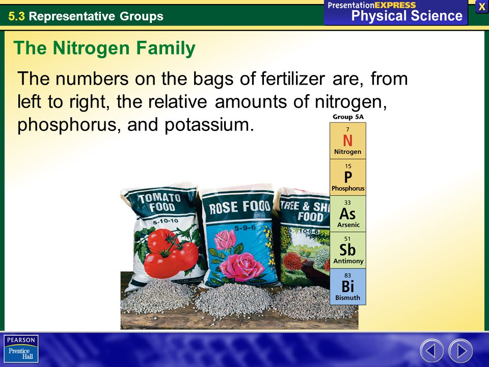 The Nitrogen Family The numbers on the bags of fertilizer are, from left to right, the relative amounts of nitrogen, phosphorus, and potassium.