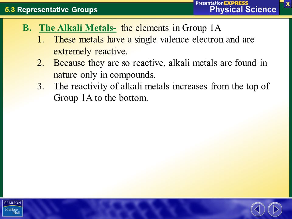 The Alkali Metals- the elements in Group 1A