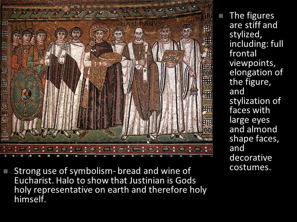 The figures are stiff and stylized, including: full frontal viewpoints, elongation of the figure, and stylization of faces with large eyes and almond shape faces, and decorative costumes.