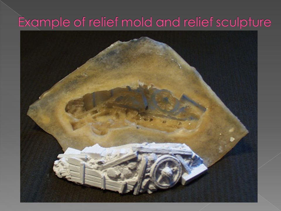 Example of relief mold and relief sculpture