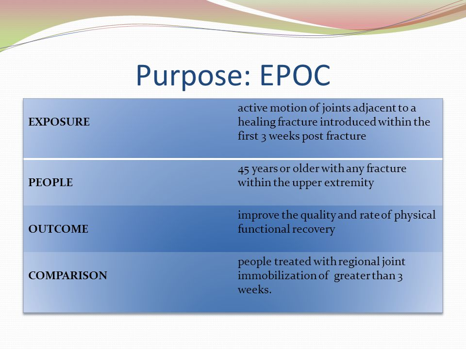 Purpose: EPOC EXPOSURE. active motion of joints adjacent to a healing fracture introduced within the first 3 weeks post fracture.