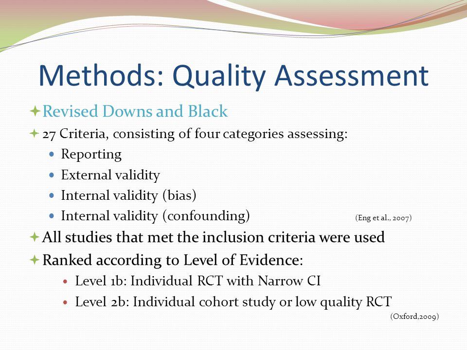 Methods: Quality Assessment