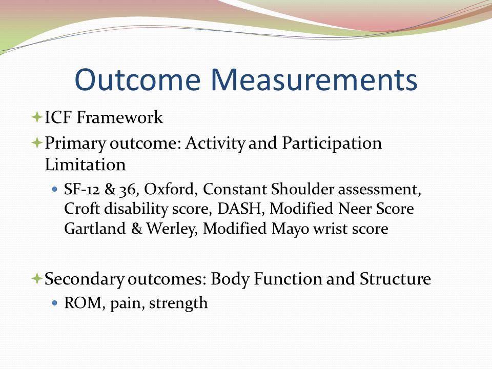 Outcome Measurements ICF Framework