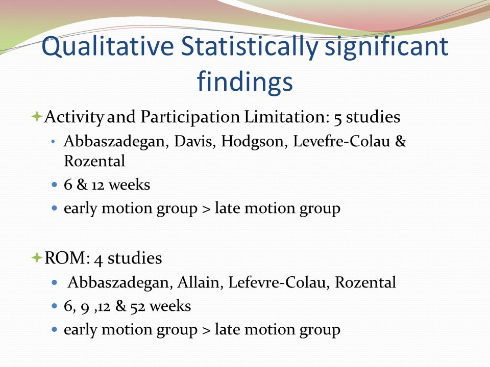 Qualitative Statistically significant findings