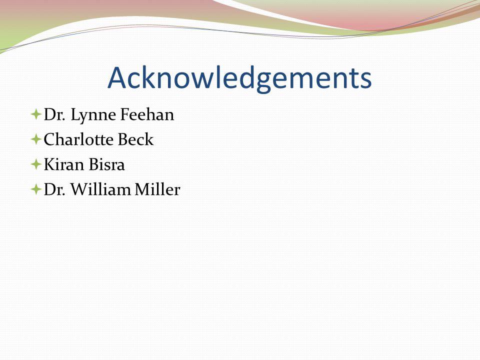 Acknowledgements Dr. Lynne Feehan Charlotte Beck Kiran Bisra