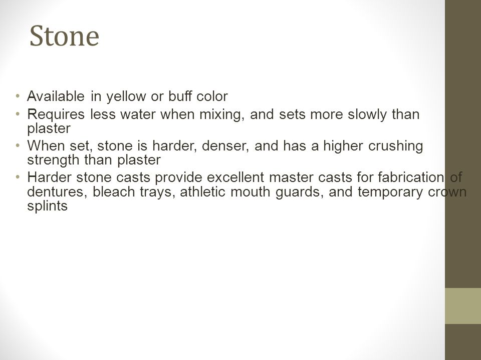 Stone Available in yellow or buff color