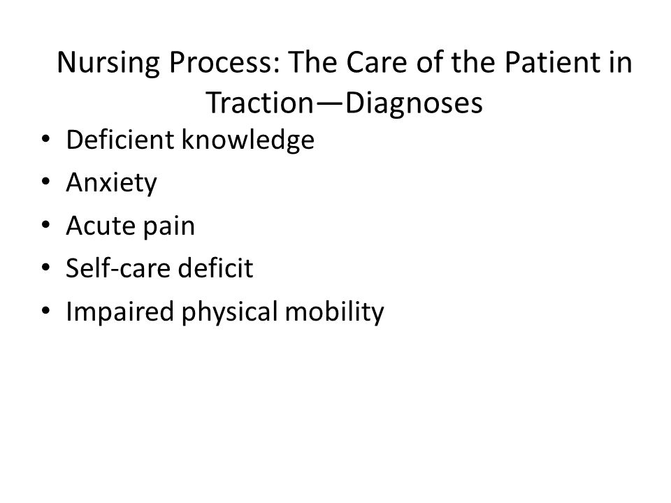 Nursing Process: The Care of the Patient in Traction—Diagnoses