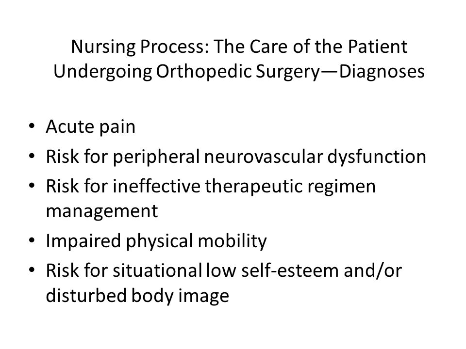 Nursing Process: The Care of the Patient Undergoing Orthopedic Surgery—Diagnoses