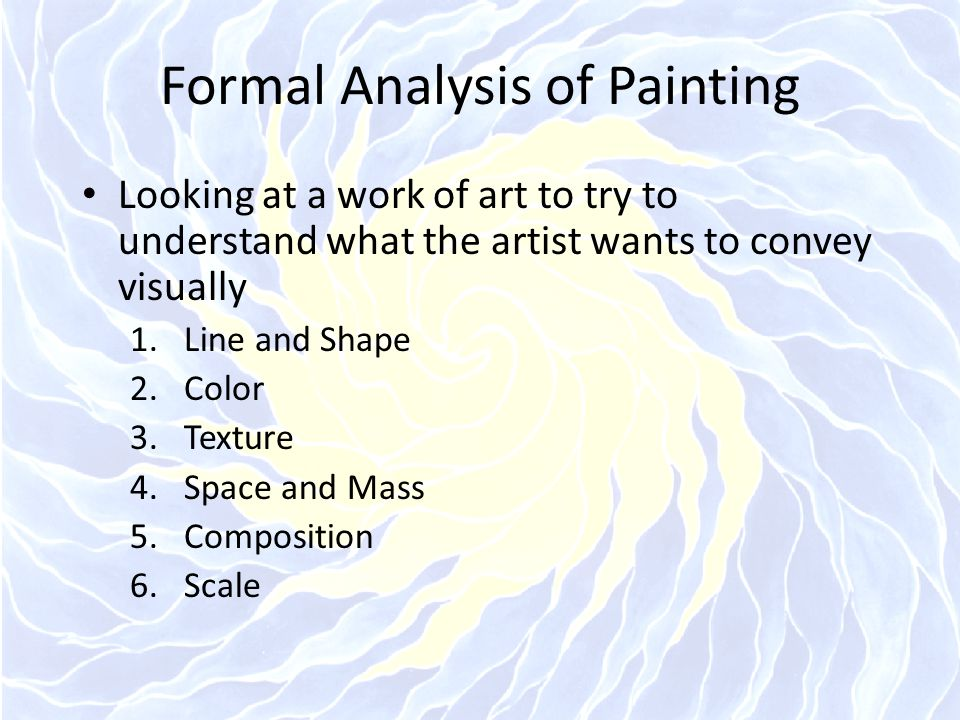 Formal Analysis of Painting