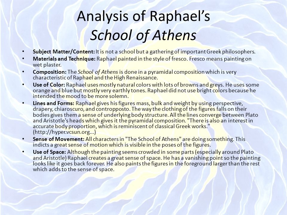 Analysis of Raphael's School of Athens