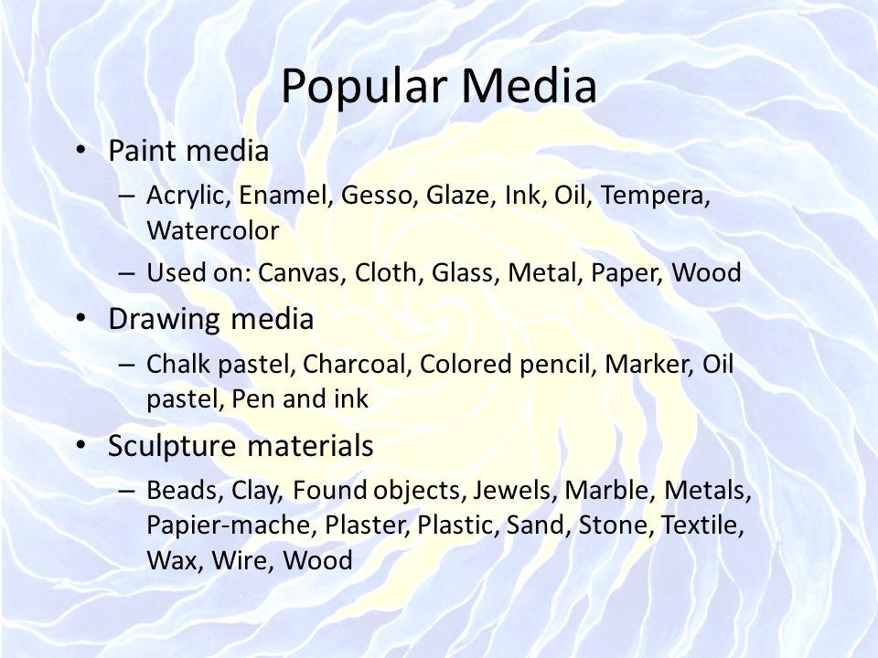 Popular Media Paint media Drawing media Sculpture materials