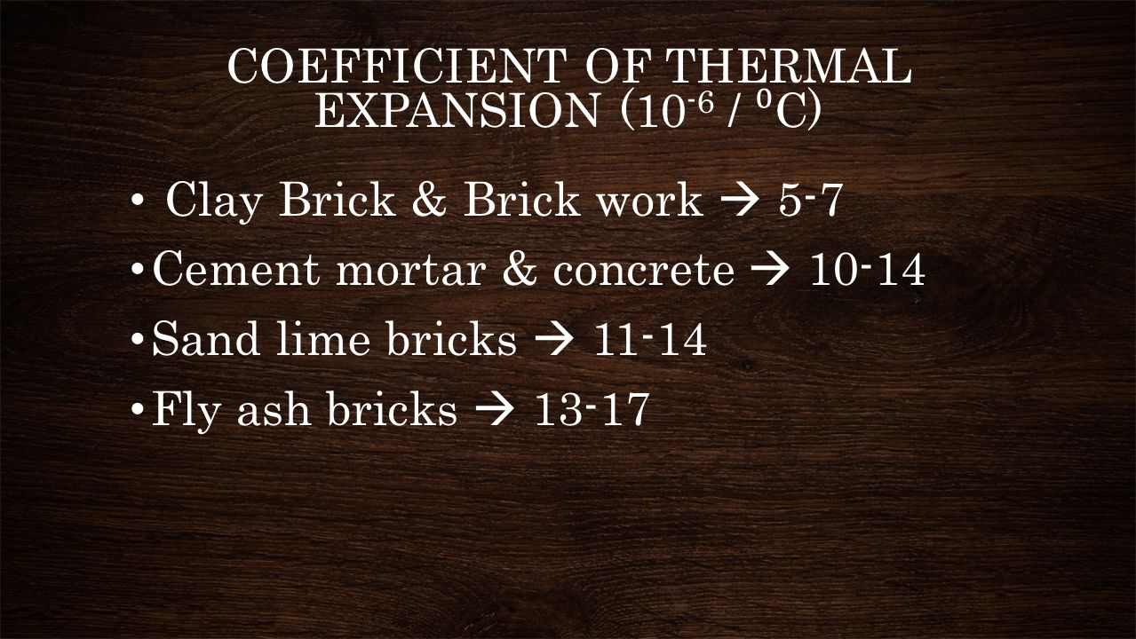 COEFFICIENT OF THERMAL EXPANSION (10-6 / ⁰C)