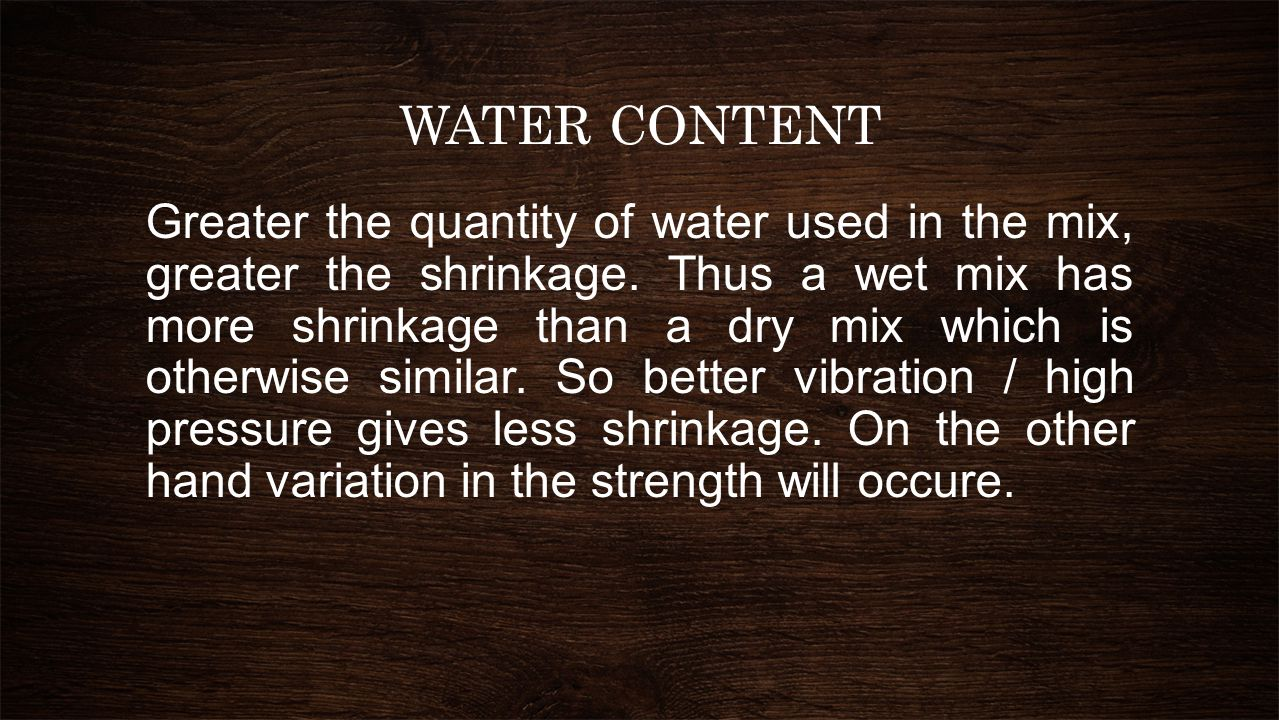 WATER CONTENT