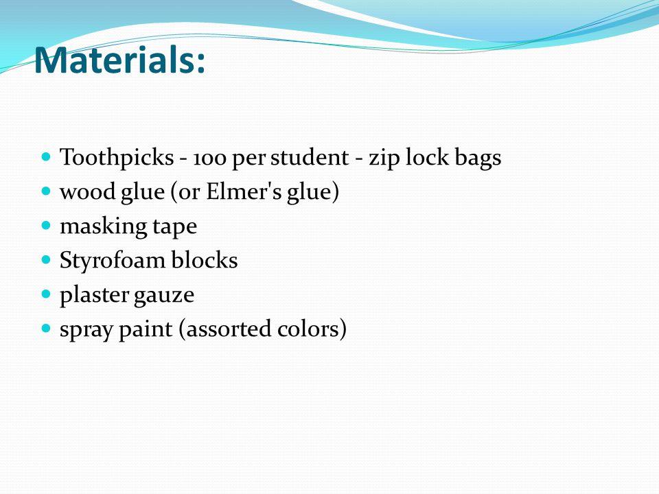 Materials: Toothpicks - 100 per student - zip lock bags