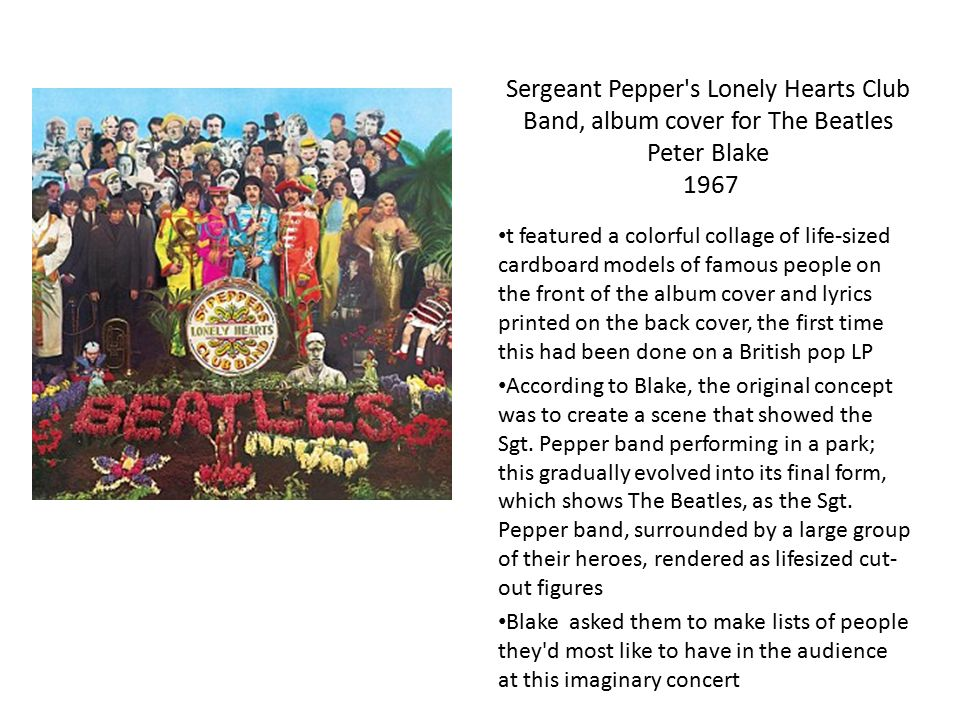 Sergeant Pepper s Lonely Hearts Club Band, album cover for The Beatles Peter Blake 1967