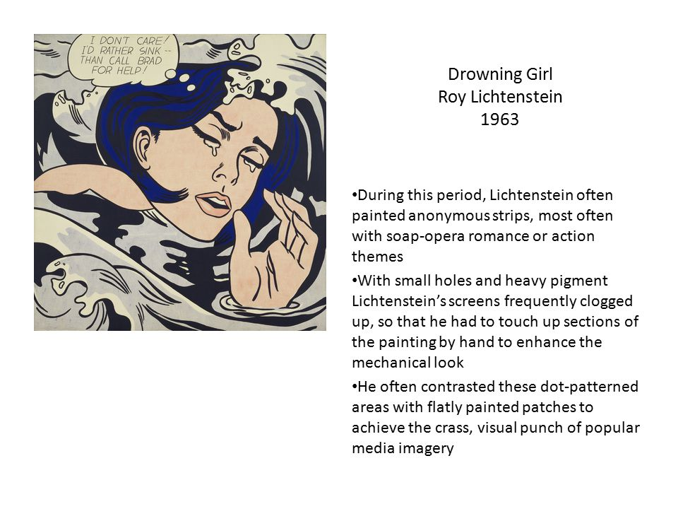 Drowning Girl Roy Lichtenstein 1963