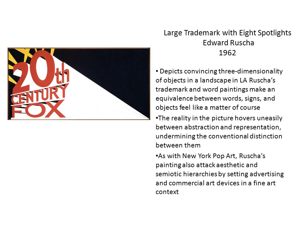 Large Trademark with Eight Spotlights Edward Ruscha 1962