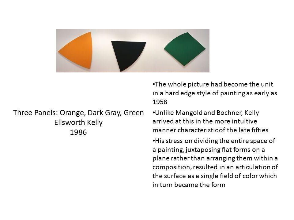 Three Panels: Orange, Dark Gray, Green Ellsworth Kelly 1986