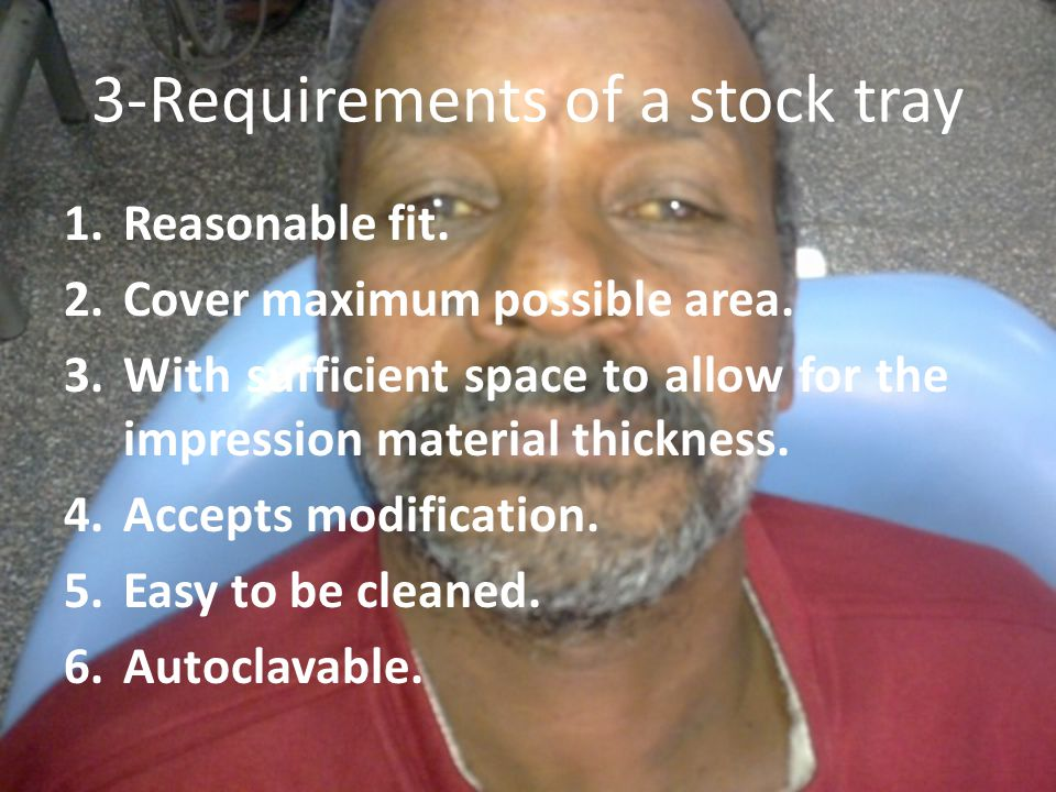 3-Requirements of a stock tray