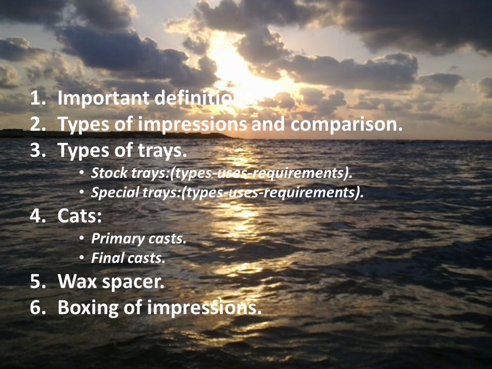 Important definitions. Types of impressions and comparison.