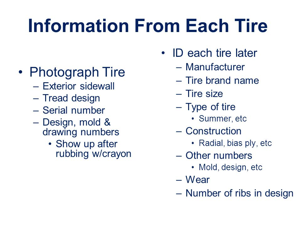 Information From Each Tire