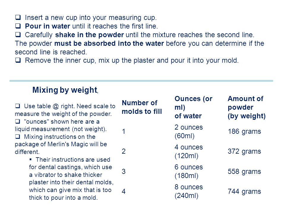 Mixing by weight, Insert a new cup into your measuring cup.