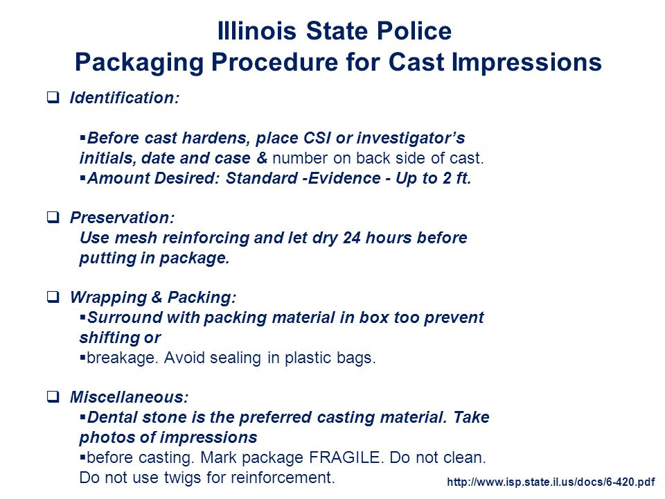 Packaging Procedure for Cast Impressions