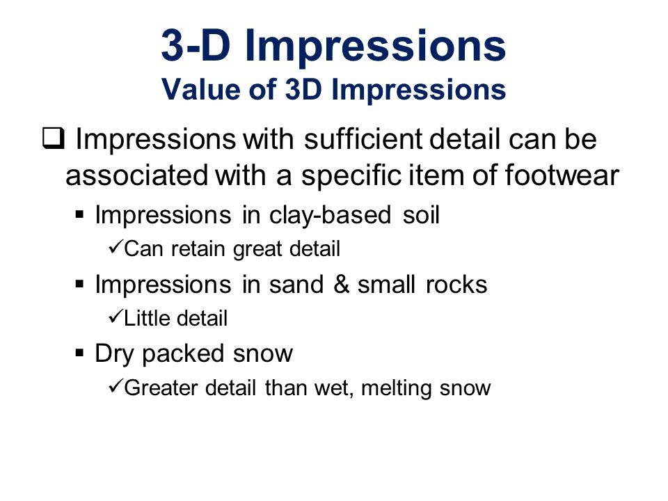 3-D Impressions Value of 3D Impressions