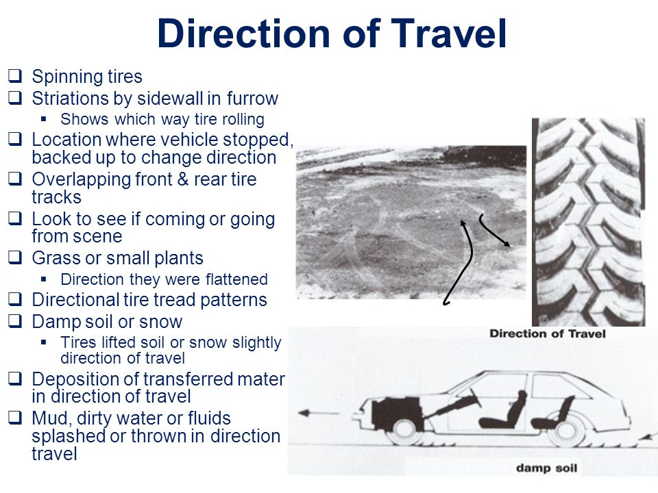 Direction of Travel Spinning tires Striations by sidewall in furrow