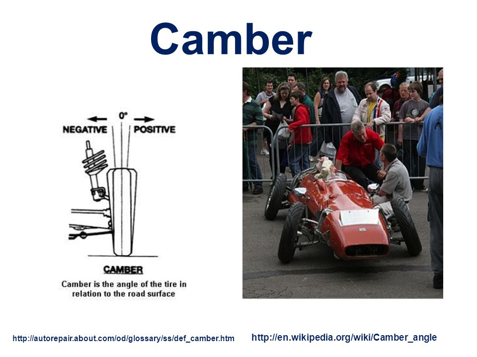 Camber http://en.wikipedia.org/wiki/Camber_angle
