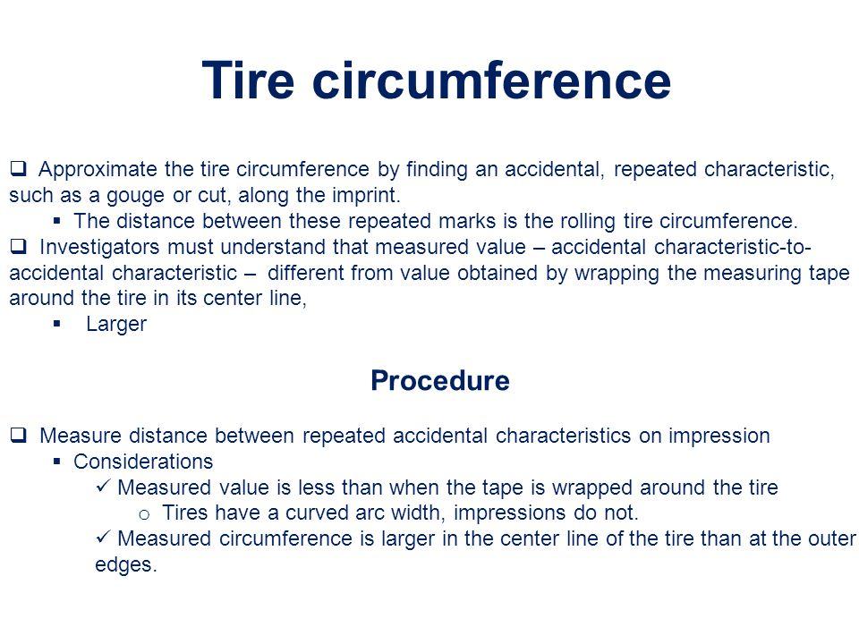 Tire circumference Procedure