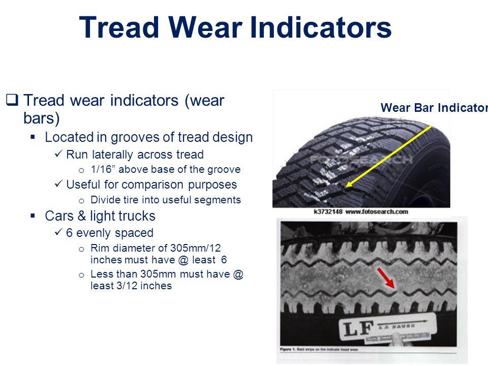 Tread Wear Indicators Tread wear indicators (wear bars)