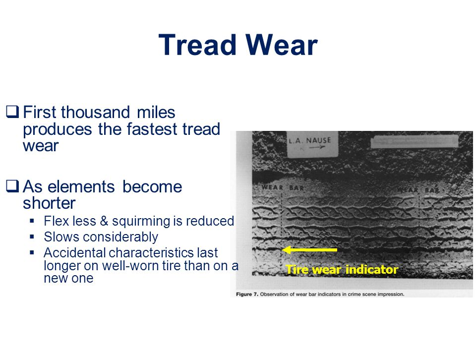 Tread Wear First thousand miles produces the fastest tread wear
