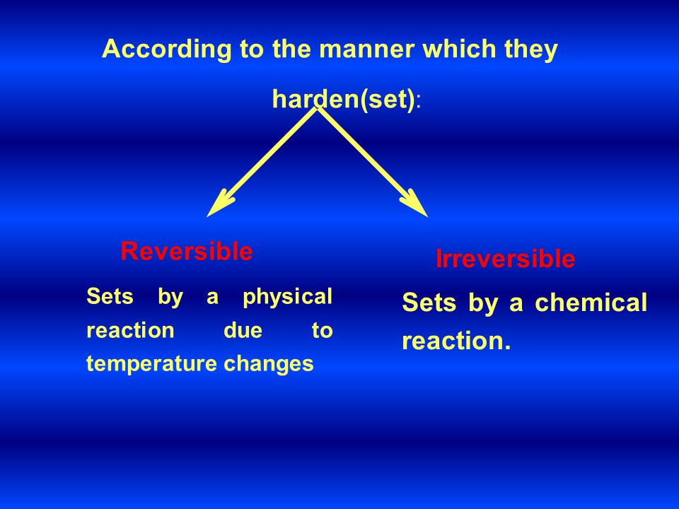 According to the manner which they harden(set):