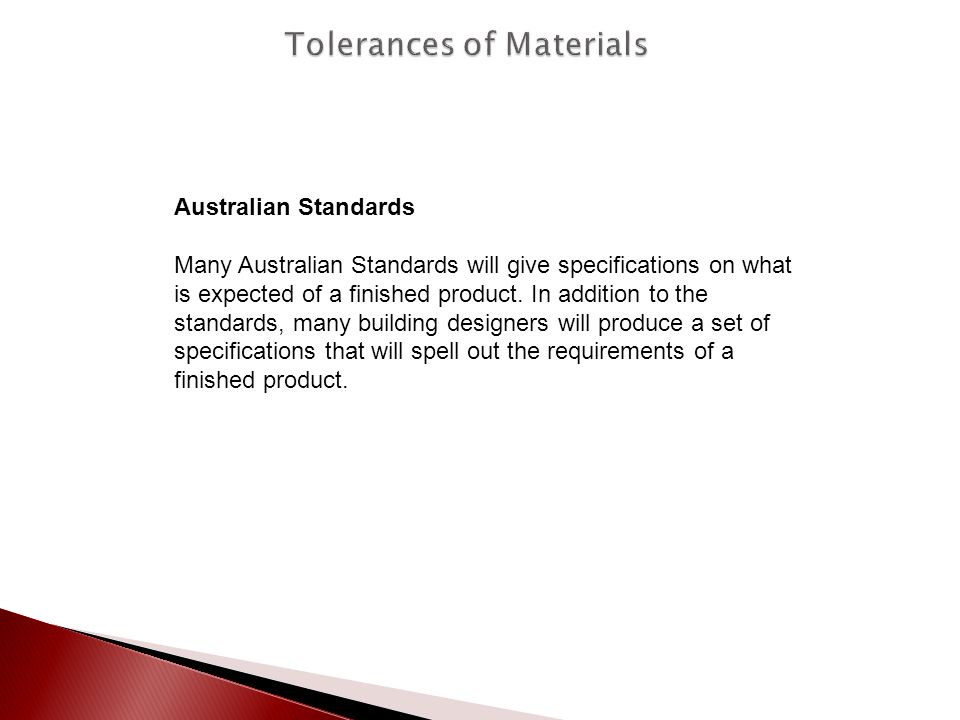 Tolerances of Materials