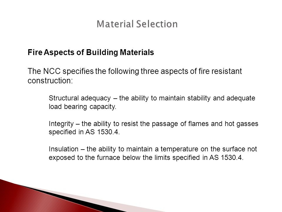 Material Selection Fire Aspects of Building Materials