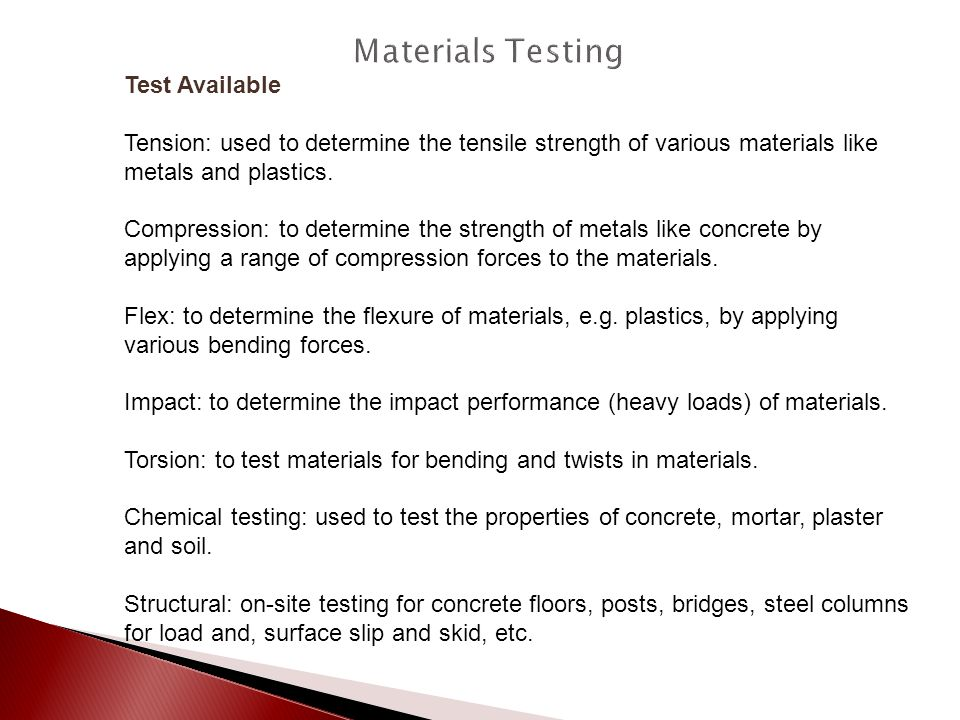 Materials Testing Test Available