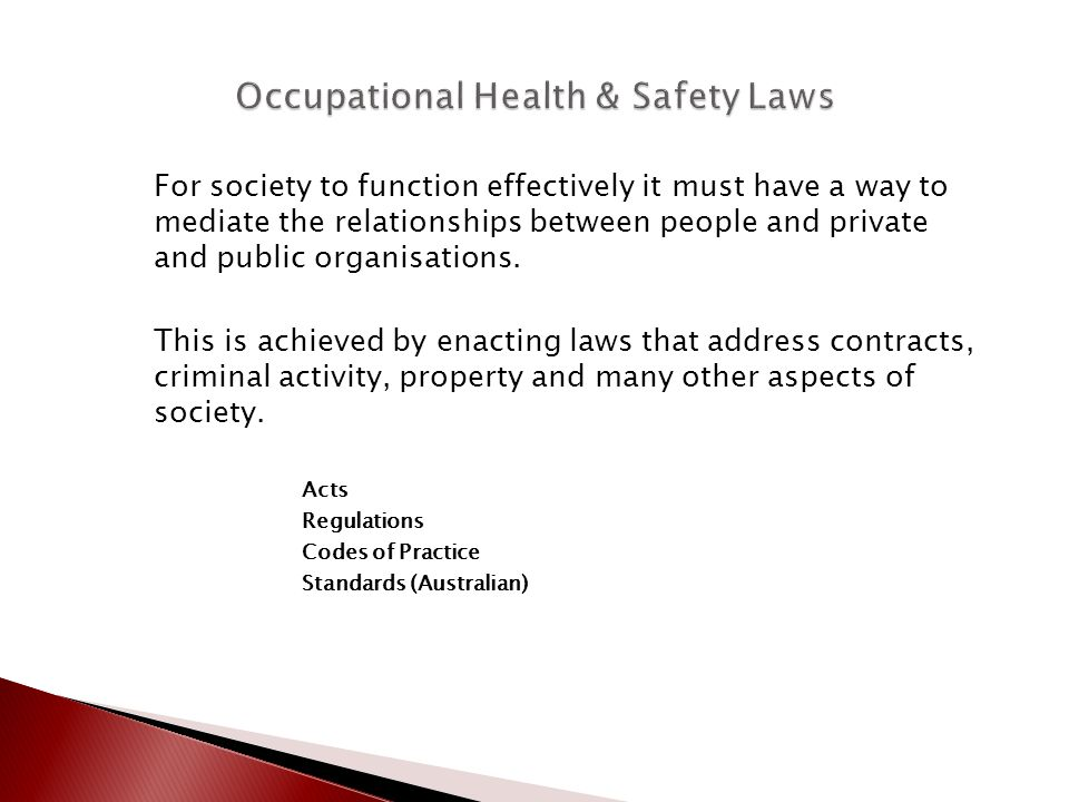 Occupational Health & Safety Laws