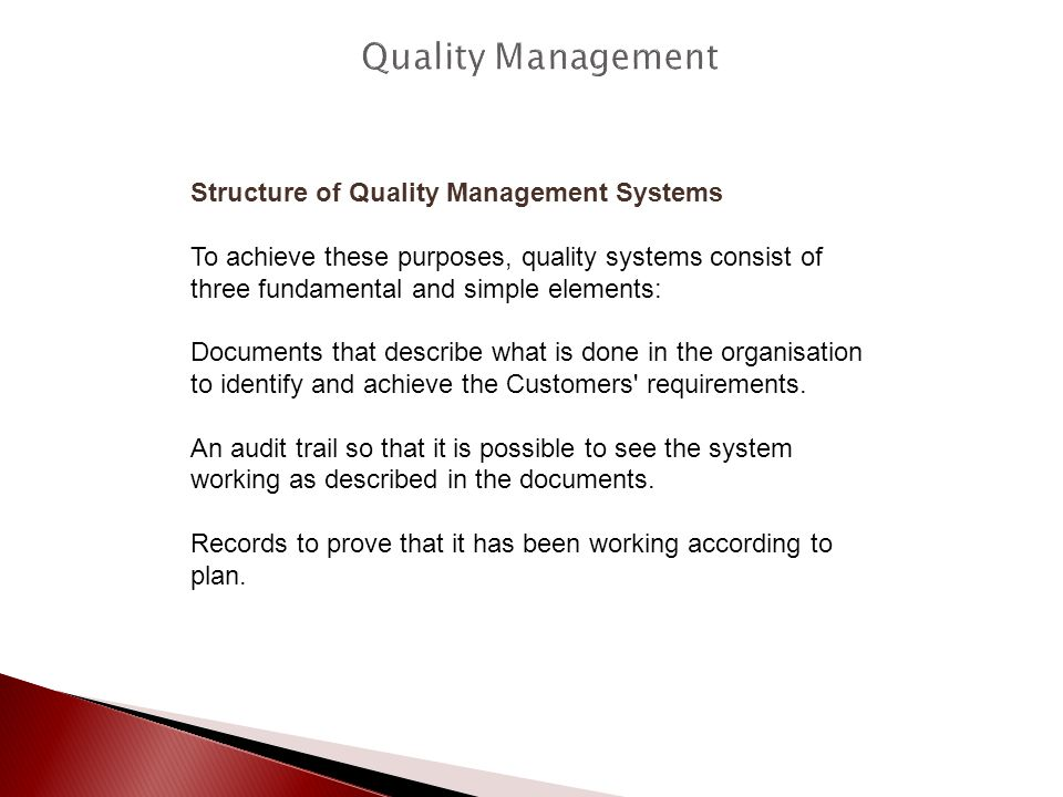 Quality Management Structure of Quality Management Systems