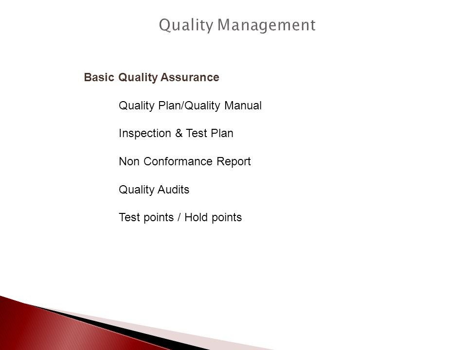 Quality Management Basic Quality Assurance Quality Plan/Quality Manual